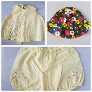 Other - Vintage Baby Girls Tulip Yellow Outfit 3 Piece Hat